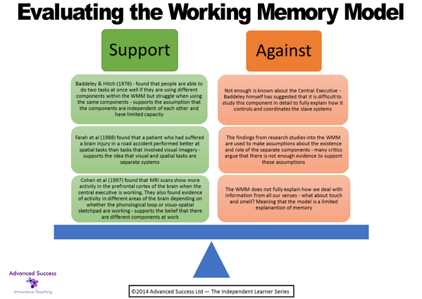 evaluate the working memory model Outline and evaluate the working memory model (12 marks) the working memory model has three separate components the central executive system allocates attention to.