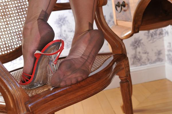 stocking feet Nylon covered