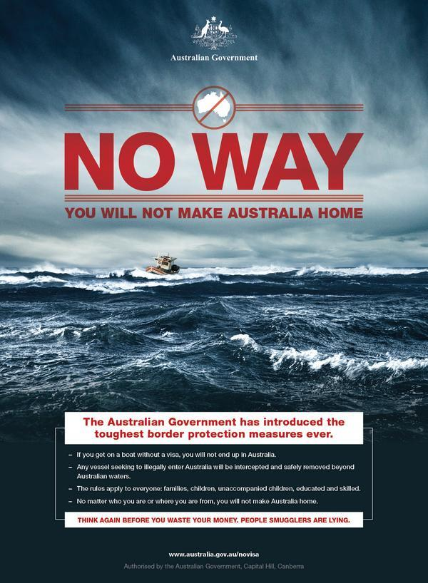 """Replying to @Markfergusonuk: If you thought Britain's """"Go Home"""" vans were severe, wait until you see Australia's new posters… http://t.co/ESDYBpKOem"""