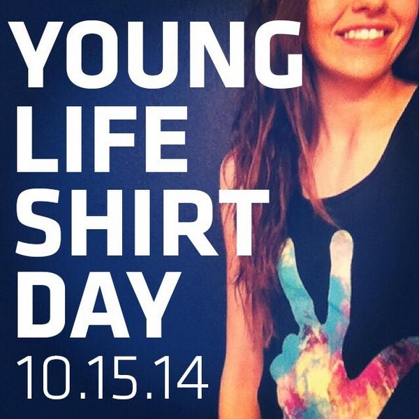 In celebration of YL's 73rd bday, On Wednesday, Oct.15th post a pic of you in a @YoungLife shirt. Tag it #YLShirtDay http://t.co/IKtEGdlXQa