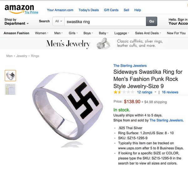 After it hit the papers that a Nazi ring was being sold by Sears the company was quick t... http://t.co/czIQ0Os3sx http://t.co/JhdZC6mTrb