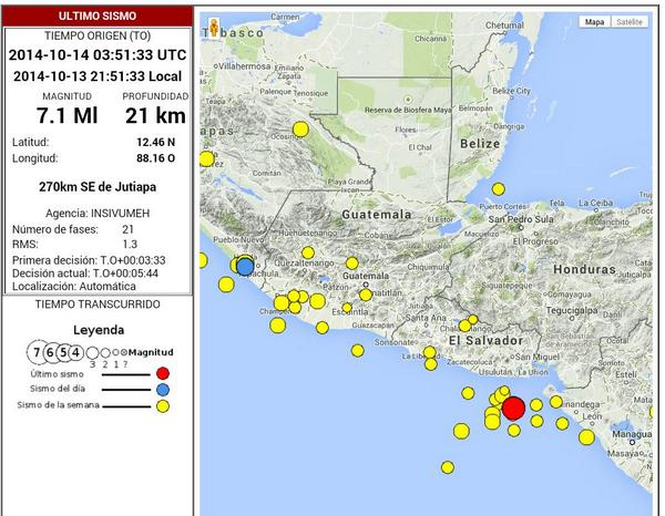 Preliminar: sismo de 7.1 en costas de El Salvador, sensible en toda Centro América. Info INSIVUMEH. http://t.co/YOB9oZk24y