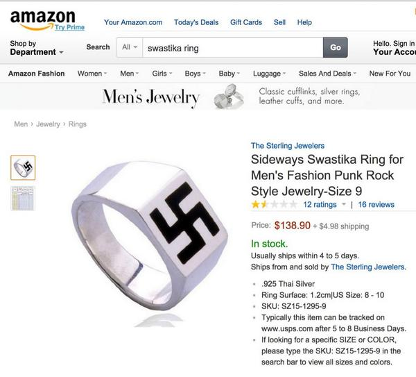 A swastika ring is on sale at #Amazon. #Sears had the same ring on sale, but immediately removed it after complaints. http://t.co/OCZm2yuN5R