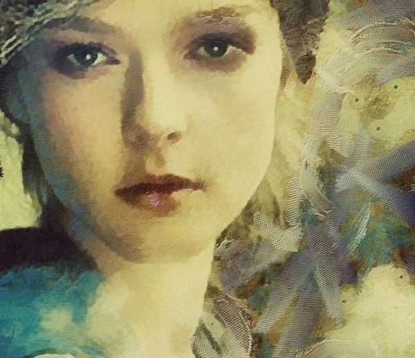 today while a big canvas is drying,im putting details into ms willow..crop pic ,acrylic and mixed media with tulle. http://t.co/w25xQOgF53