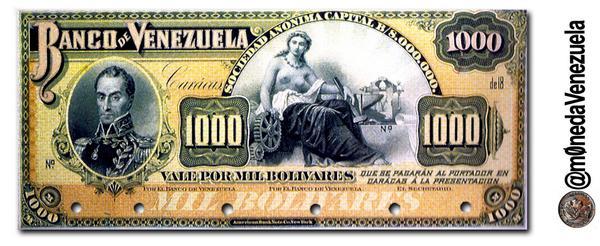 1er Billete Venezolano con la imagen de Bolívar. 1000Bs 1890. Este era ExtraFuerte, al cambio de la época valía 1000$ http://t.co/Cv8F73TvMd