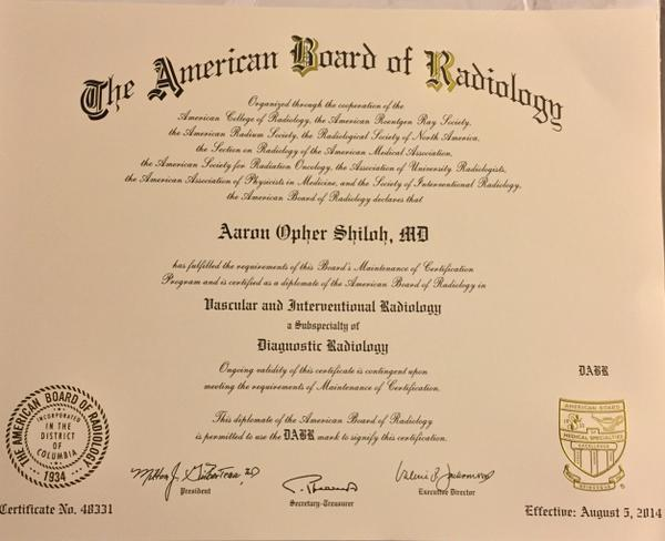 Aaron Shiloh Md Fsir On Twitter Just Received My New Certificate