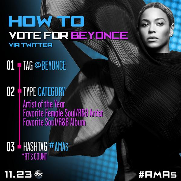 """@TheAMAs: RT to vote for @Beyonce for #AMAs Artist of the Year via Twitter. AND VOTE HERE: http://t.co/PyuAdtlPrE http://t.co/oLjnj9bNpr"""
