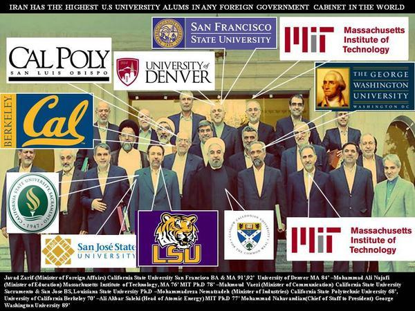 طاقم حكومة الرئيس الايرانى روحانى, خريجى الجامعات الامريكيه التاليه : http://t.co/YJCbiw2x3V