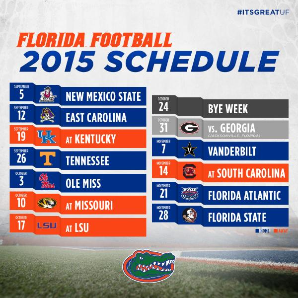 "Gators Football on Twitter: ""Complete 2015 Florida football schedule"