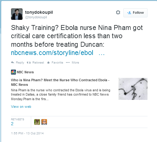 "So why does your tweet say ""Shaky training??"" @tonydokoupil That implies CCRNs are not well trained. http://t.co/fibVQ6fEs6"