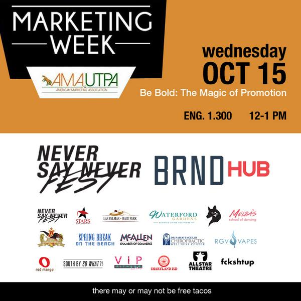 UTPA friends: I've been asked to speak at #marketing week. Come hang tomorrow (wednesday). ENG 1.300 12-1 PM http://t.co/po4nkguYmb