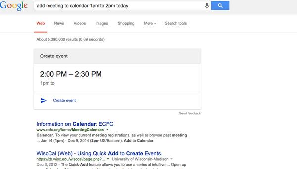 Little trick.   Did you know you can add something to your calendar by putting it in Google Search? http://t.co/K8E3ZgOEFV