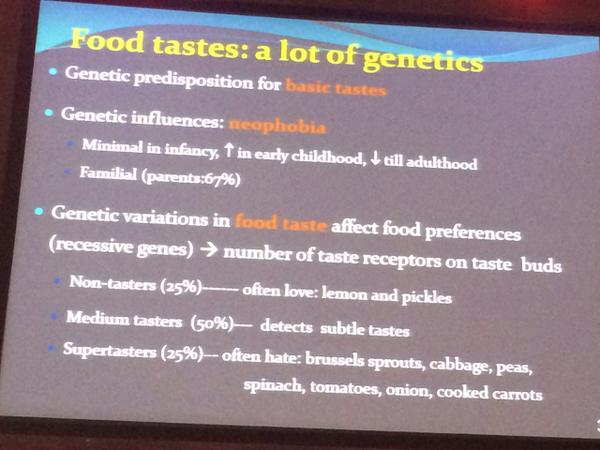 Are you a super-taster? You can blame your genes. Dr. Ramsay (Montreal) on genetics of our taste preferences #inoea http://t.co/JumrJvVf6J