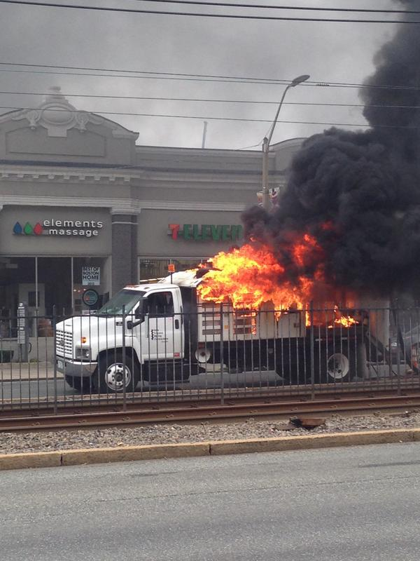 A truck is on fire outside the College of General Studies on Comm. Ave. Fire Dept. responding. http://t.co/YG2bg3q4EC