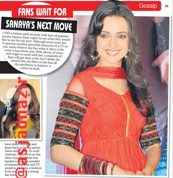 The Sanaya Irani #FanPower story in my newspaper column today (how many RTs will this get) #SanayaIrani http://t.co/hmVJyWG216