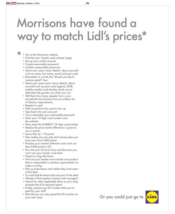 Lidl has been on offensive this week. Clever newspaper ad re Morrisons' price-matching (via @rudemrlang). http://t.co/mHaqp8sAe1