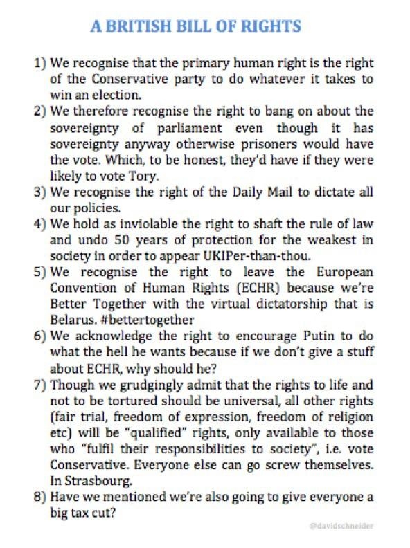If you didn't see the Tory proposal for a British Bill of Rights to replace the Human Rights Act, here it is again http://t.co/Vi0lW3EKmT