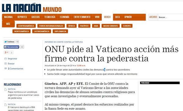 ONU pide al Vaticano acción más firme contra la pederastia nacion.com/mundo/ONU-Vati… 24/05/2014 #FelizDomingo