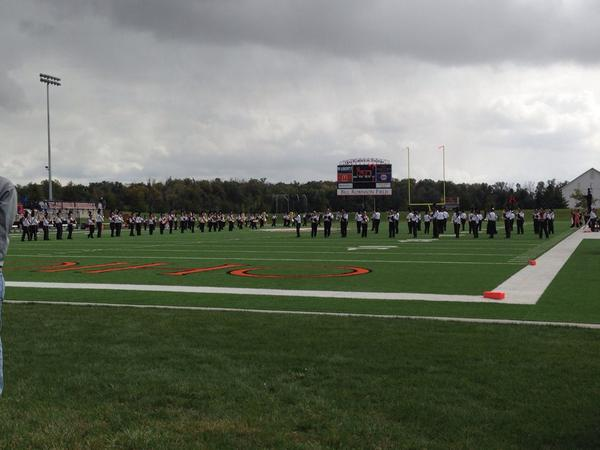 It's halftime in Dial-Roberson Stadium. Score ONU 10 - John Carroll 7. It's time for the marching band! #ONUHC14 http://t.co/tgsZNBQlv2