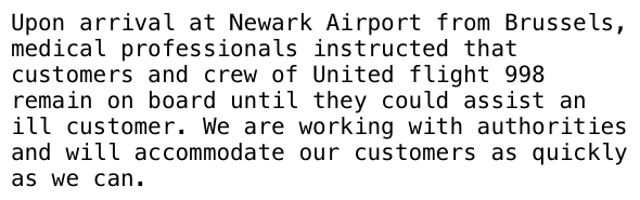 Statement from United airlines re: sick passenger on flight 998 at Newark: http://t.co/JI5ov3svKp