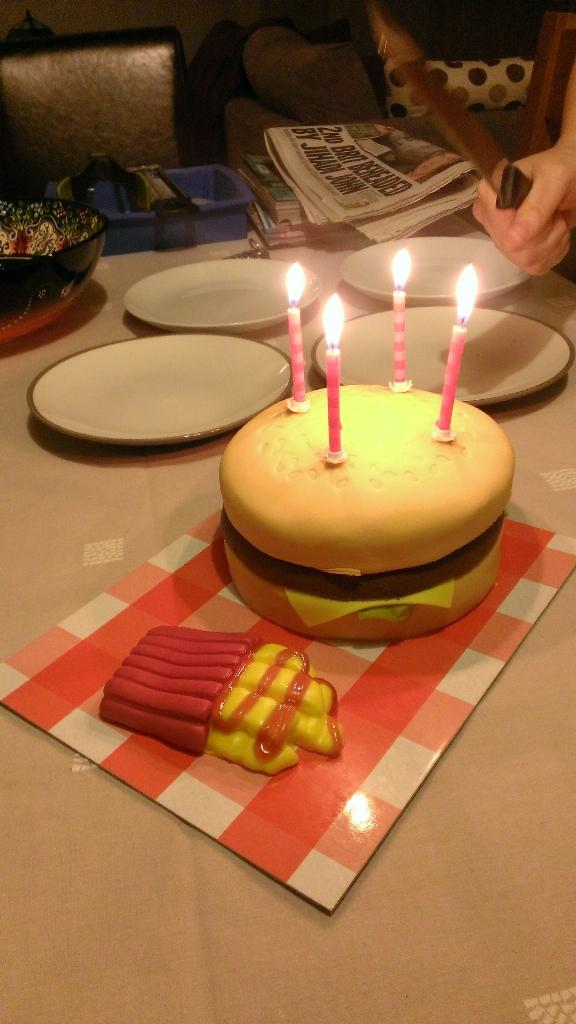 Outstanding Suzi On Twitter Burger Birthday Cake Asda Birthday Cake Funny Birthday Cards Online Aeocydamsfinfo