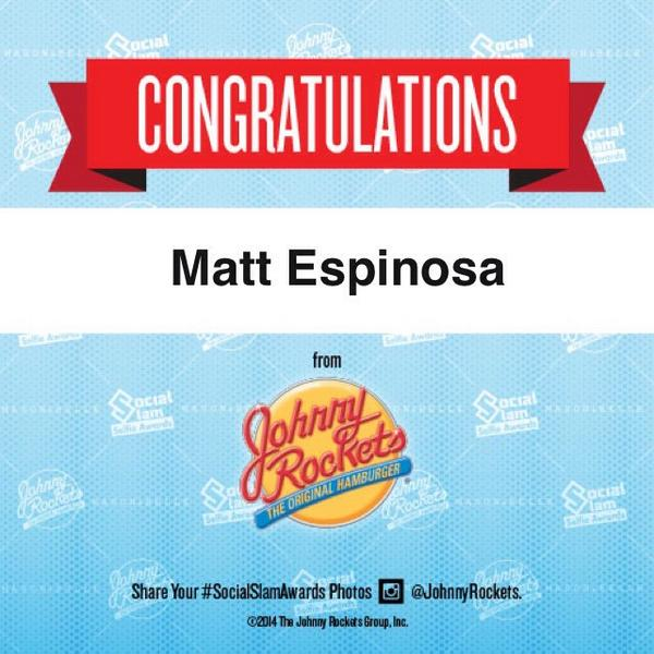 Congrats @TheMattEspinosa for winning Favorite Male Personality at the #SocialSlamSelfieAwards! #JohnnyRockets http://t.co/OSrASrk3bN