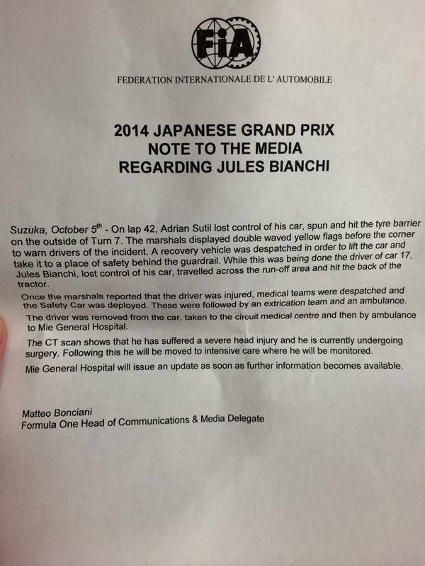 Official statement on Jules Bianchi #F1. http://t.co/kZfeVTps8s
