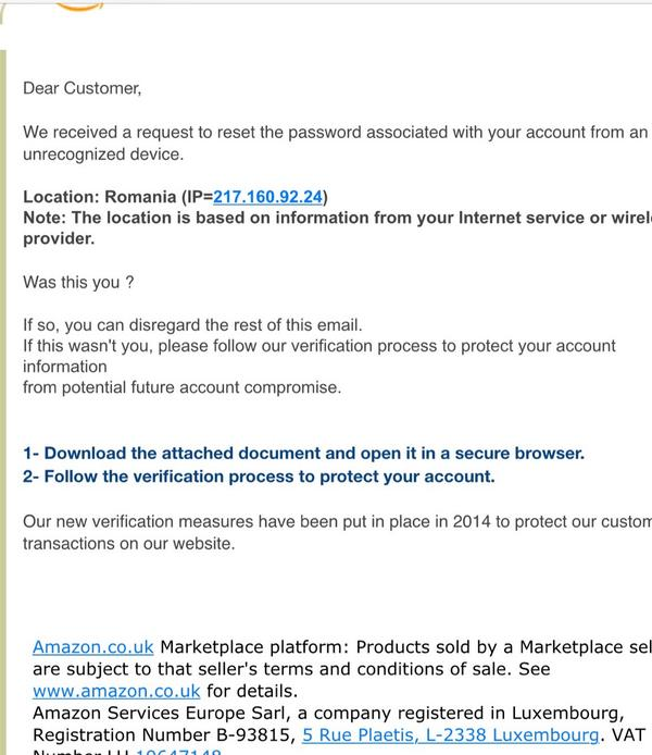 This is just about the scariest phishing scam I've seen - nearly caught my 83 year old dad. Watch out Amazon users http://t.co/IzOG7eEhpa