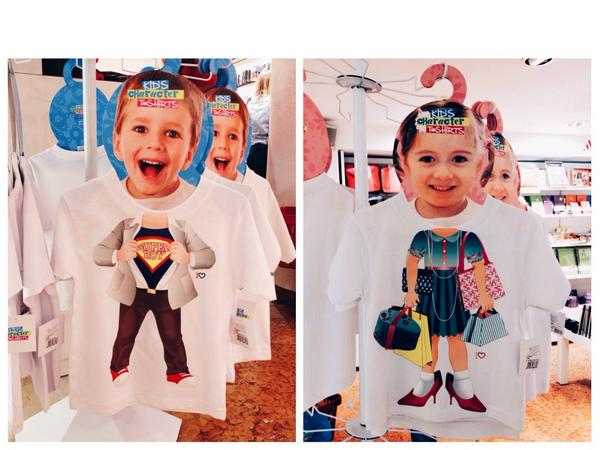 These T-shirts spotted in Italy portray boys as superheroes, while girls must shop shop shop (cc @SocImages) #gender http://t.co/KoSFBqkvQi