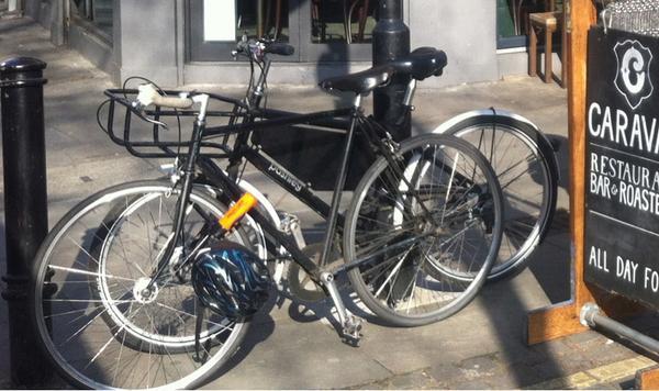 My bike #stolen 11am Today. Hackney E9 - In-photo: white bull horn bars, black frame, brooks saddle, single speed