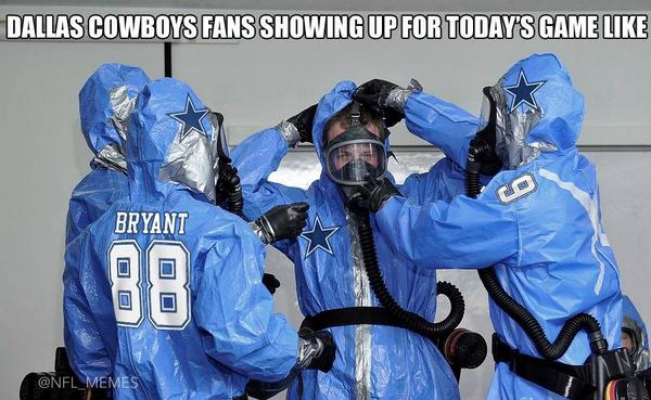 #DallasCowboys fans be like…    #Ebola http://t.co/cFJ0c7dD5f