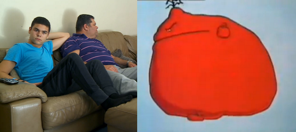 That dad on Gogglebox sort of looks like this character from Stoppit and Tidyup. http://t.co/0VTypCwHpm