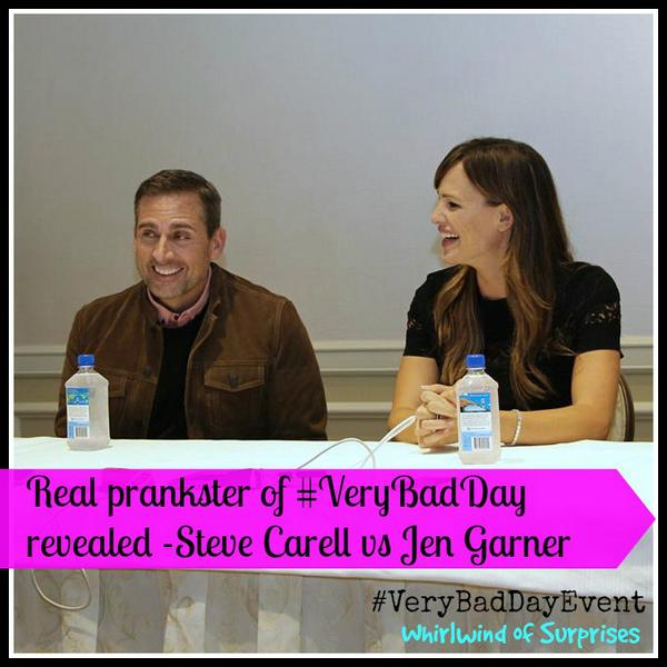 #VeryBadDayEvent interviews, the prankster between Steve Carell and Jennifer Garner