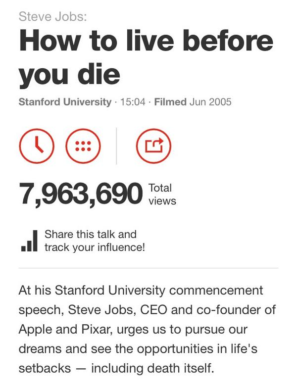 steve jobs how to live before you die essay Here is the full text of steve jobs' commencement speech to stanford in 2005it is one of the greatest reflections on life we've ever heard if you want to watch him give the speech we have.