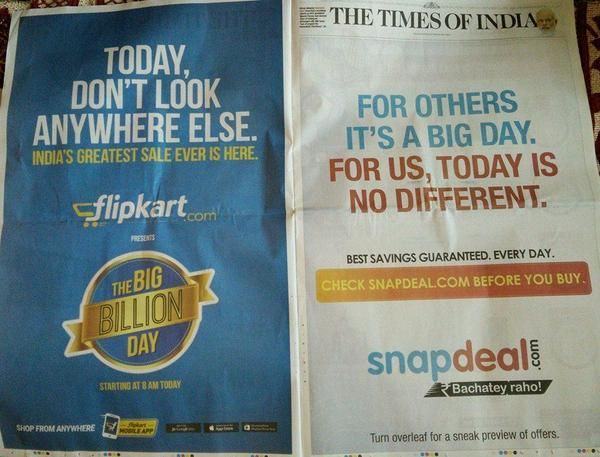 #Flipkart's #BigBillionDay an epic fail on both traditional and #socialmedia. #CheckSnapdealToday. http://t.co/ybIRaZgbpR