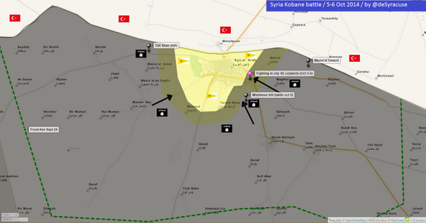 Agathocle deSyracuse on Twitter Kobane battle NEW MAP on Oct 6