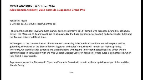 Latest statement from @Marussia_F1Team on @Jules_Bianchi calling patience and giving thanks #F1 http://t.co/zsdzzXYScP