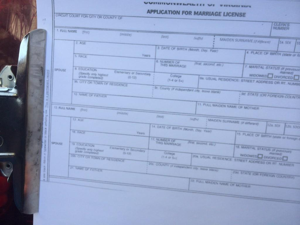 Gay marriage license application