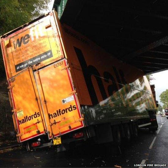 A Halfords lorry with the slogan 'we fit' is stuck under a bridge in south-east London. http://t.co/2NajPepEXK http://t.co/V4mb63MGnW
