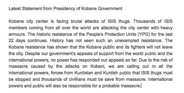 Statement bestuur #Kobane: Niemand helpt! 'International community will be responsible for possible massacre' #Syria http://t.co/spVrl2qw7H