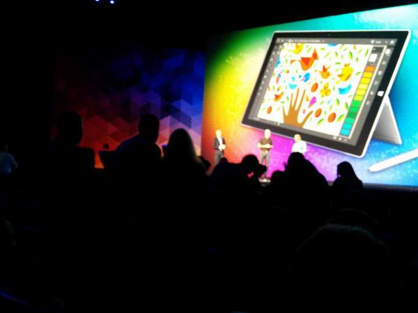 Everyone gets a #SurfacePro3 at #AdobeMAX, that got a standing round of applause! http://t.co/e7GH2QpR4P