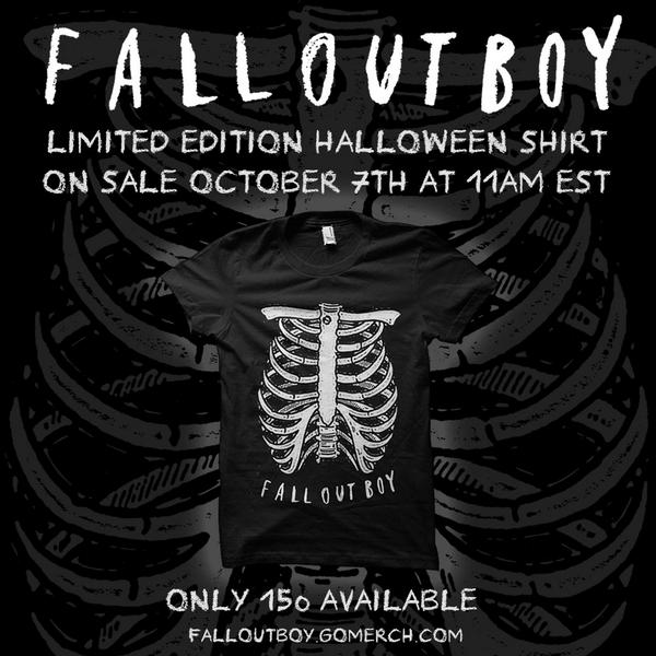 fall out boy on twitter the limited edition fob halloween shirt goes on sale tomorrow at 11am est only 150 available httptcoi1pvsln2y8
