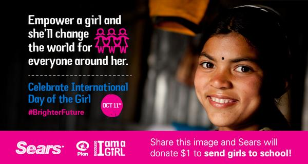 Pls RT! Every RT @SearsCA will donate $1 to send girls in the developing world to school in honour of #DayoftheGirl. http://t.co/qGYAj9pCOO