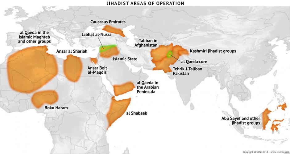 Stratfor On Twitter Stratfor Map Jihadist Areas Of Operation - Maps where jhadist are lockated in us