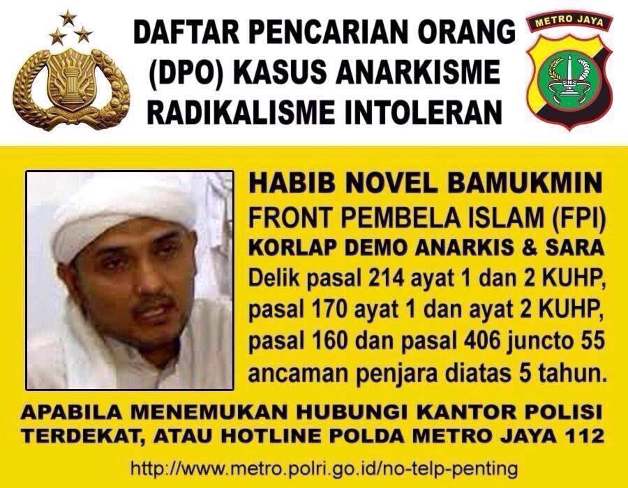 RT @TMCPoldaMetro: DPO (Daftar Pencarian Orang) Kasus Anarkisme Radikalisme Intoleran http://t.co/RJZYsbQw1e