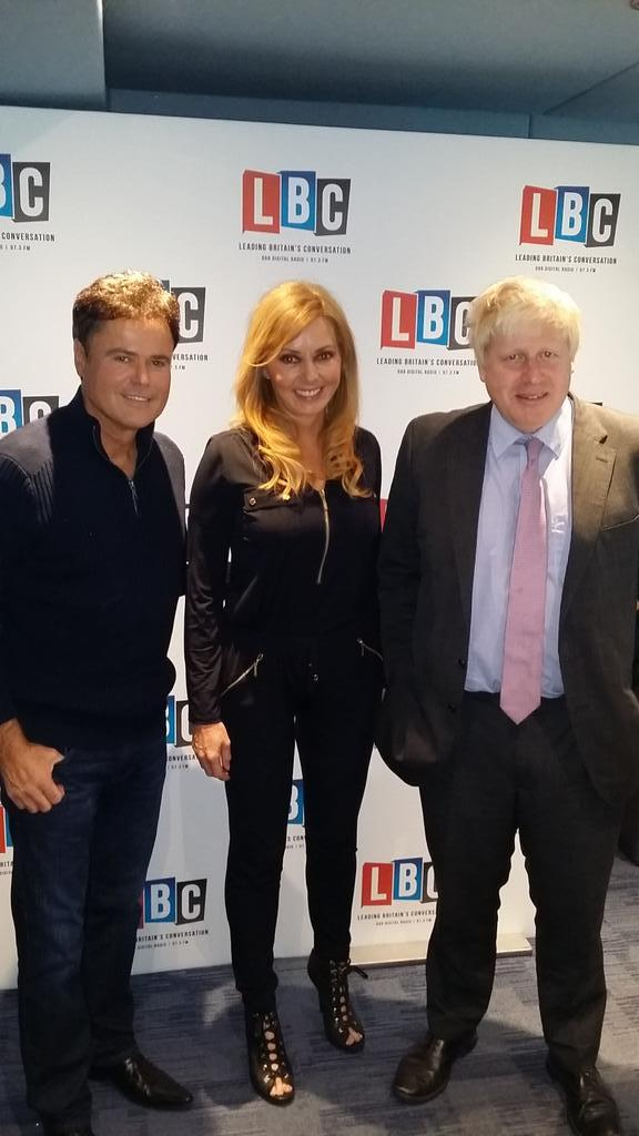 Surreal picture of the morning... Ha @MayorofLondon @donnyosmond and lil ole me! X  all at @LBC http://t.co/2rwhMDWdr3