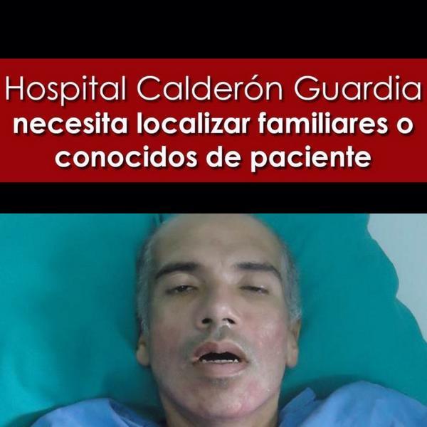 Hospital necesita ubicar familia de paciente. Dice llamarse Tomás Enrique Pérez Noguera y ser venezolano. RT. http://t.co/Ksy5swMgYf
