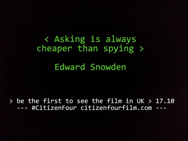 Be the first to see film premiere of the new #Snowden doc #CITIZENFOUR on Oct 17th https://t.co/3RG2QNkv1U http://t.co/RIEqt6H8zh