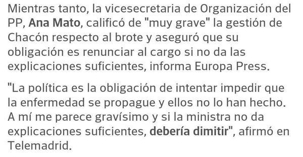 """Declaraciones de """"nuestra"""" Ministra Mato hacia Chacón, la ex Ministra, cuando la Gripe A. #unbesitomuymuyfuerte http://t.co/x1cGlPk2hm"""