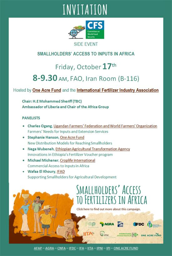 On Friday 17 Oct we're hosting a side-event @CFSupdates w/ @OneAcreFund - find out more here: http://t.co/VqZnUOTVLS http://t.co/UsFsLrSVQ8